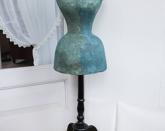 Antique French blue wasp waist mannequin from 1870, French blue victorian dress form