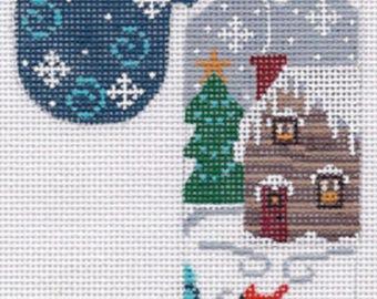 Needlepoint Handpainted CHRISTMAS Danji Candy Cane Log Cabin Ornament -Free US Shipping!!!