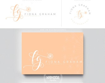 dandelion initlas 3  brush peach initials businesscards  simple modern feminine branding- logo Identity artist makeup wedding photographer