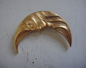 Vintage Gold Moon Brooch - Man in the Moon