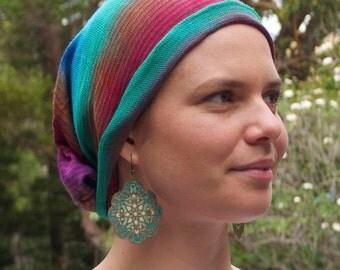 Forest Earth  FULL HEADCOVER - no knots - no seams - no fuss - Cotton Chemo Hair Scarf - Chemo Headwear - Chemo Bandana Hat
