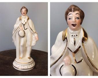 Vintage Ceramic Man Figurine Dapper Gentleman 18th Century Men's Fashion Boudoir Dressing Room Vanity Hollywood Movie Star Figure Fashion