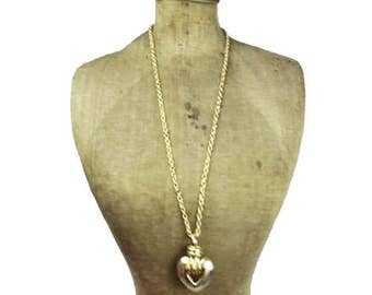 Gold Puffy Heart Necklace, Gold Heart Necklace, Long Gold Chain Necklace with Heart Pendant