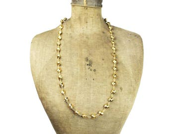 Vintage D'Orlan Gold Chain Necklace, Gold Bead Necklace, Long Gold Chain Necklace, Long Gold Necklace,