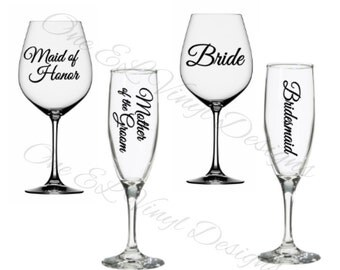 Wedding Party Titles for DIY Glasses - Bridesmaid, Maid of Honour ...For Champagne, Wine,  Beer glasses, Coffee Mugs ... Glass NOT Included