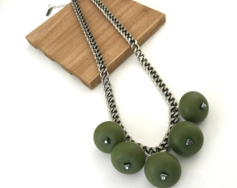 Olive green chunky beaded necklace, silicone beads necklace, silver chain, nulika