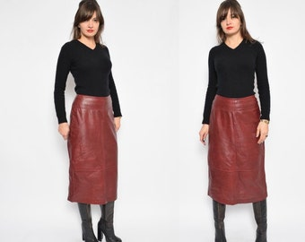 Vintage 90's Burgundy Real Leather Pencil Skirt / High Waist Genuine Leather Skirt - Size Small