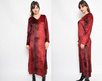 Vintage 90's Burgundy Velvet Maxi Dress / Long Sleeve Velvet Dress - Size Medium