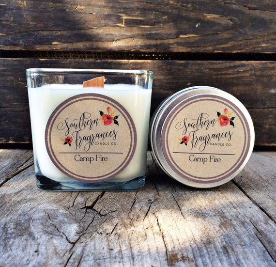 Camp Fire Candle | 12oz Soy Candle Container | Southern Fragrances | Wood Wick Candle | Man Candle | Bonfire Candle | Fireplace Candle