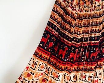 1 WEEK SALE! 30 % off. AMAZING block print boho Indian gauze maxi skirt. Fits a size small / medium / Large / Xlarge