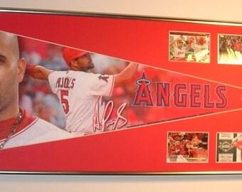 California Angels Albert Pujols baseball Pennant & Cards...Custom Framed!!!