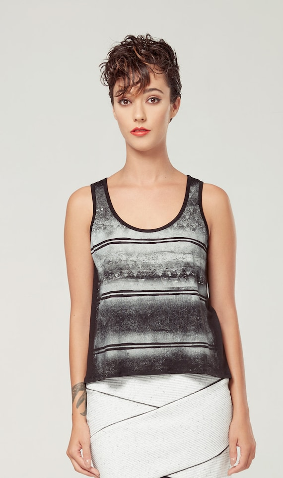 BOURGEON - sleeveless minimalist top, cami, camisole for women - black white with edgy and grunge silkscreen