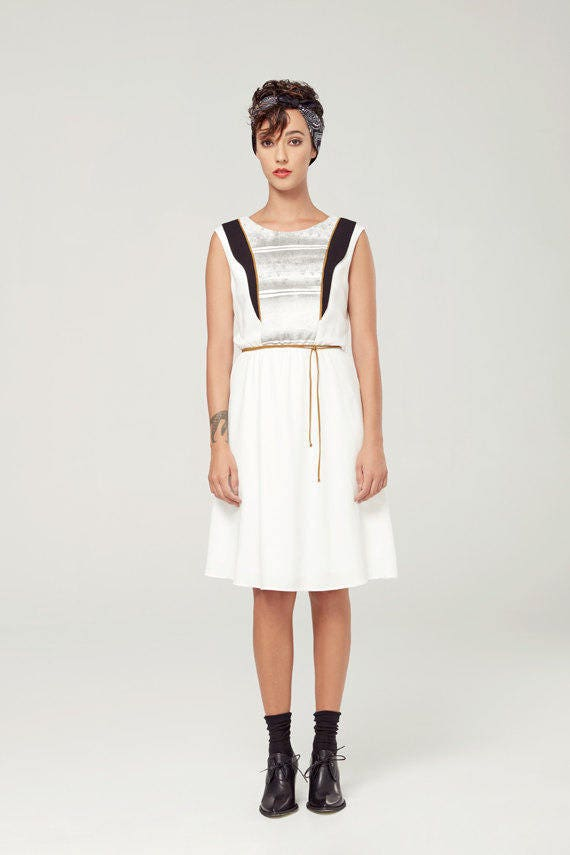 SAMARE - sleeveless skater dress, empire waist for women - white with deconstructed silkscreen like edgy and grunge