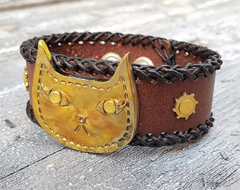 Steampunk Cat Leather Wristband Cuff -Steampunk Bracelet-Steampunk cuff-steampunk Girlfriend Ladies gift