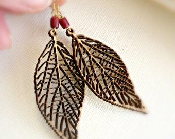 Woodland gift idea Wood earrings Eco earrings gift Long leaf earrings Gift for wife Gift for girlfriend Wooden jewelry Christmas gift