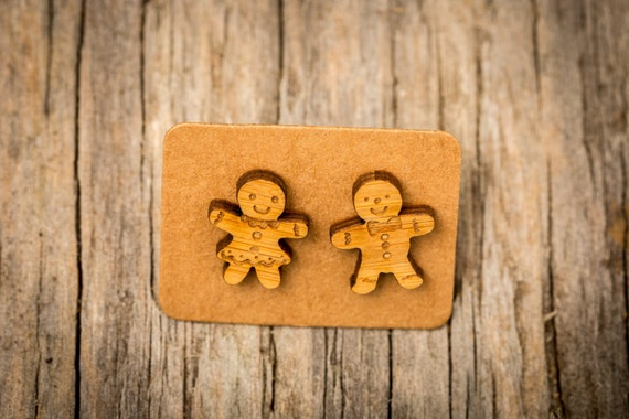 FREE SHIPPING WORLDWIDE - Bamboo Gingerbread Men Earrings - Surgical Steel - Studs - Gift Box - Handmade Bamboo Wood Earrings - Studs