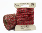 10m Christmas Sparkle Baker's Twine - Red, Green and Gold Glitter Twine