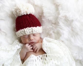 Baby Hat Santa, Newborn Photo Props, Christmas Baby Hat, Baby Knit Pom Pom