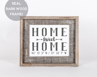 "Framed ""Home Sweet Home"" Print, 5x7, 8x10, 11x14, Housewarming Gift, Realtor Gift, Rustic Home Decor, Custom Coordinates, Gift for Mom"