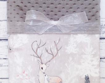 Personalized Minky Baby Blanket, Designer Minky Baby Blanket, Vintage Woodland Deer, Minky Baby Blanket