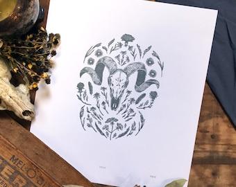 Prairie Shrine Letterpress Print | Goat Skull Botanical Illustration | Vintage Inspired Artwork