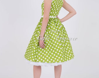 """50s dress with PolkaDots """"Betty lime green"""""""
