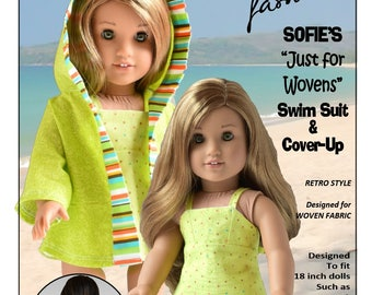 Pixie Faire Sofie Clareese Fashions Sofie's Just For Wovens Swimsuit Doll Clothes  Pattern for 18 inch American Girl Dolls- PDF