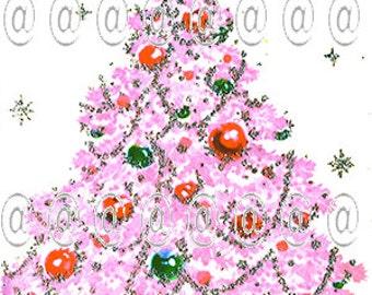 Digital download vintage Christmas card, Christmas tree, pink Christmas tree, 1950s, mod, retro