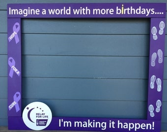 Relay For Life Photo Booth Frame - Fundraiser Wood Photo Prop - Breast Cancer Awareness Photobooth - Event Photobooth - Photo Booth Frame