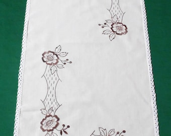 Vintage Table runner with floral Brown embroidery embroidered Flowers