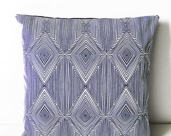 18x18 Navy and White Geometric Throw Pillow, Decorative Pillow Cover