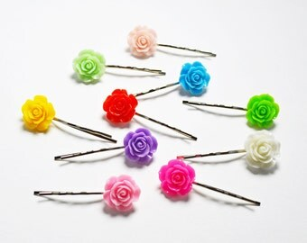 Set of 10 Assorted Colorful Rose Resin Bobby Pin - Hair Pins - Hair Accessories - Colorful Hair Clips - Girl Hair Pin - Bobby Pins Set