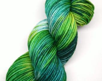 hand dyed yarn, hand painted yarn, handpainted yarn, superwash merino yarn, kettle dyed yarn, dk, variegated, green blue, watching clouds