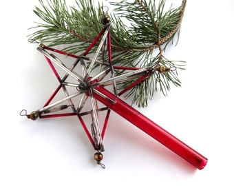 Red Christmas tree top star USSR vintage Christmas ornament star topper 1940s decoration with bugle beads red glass topper Soviet xmas