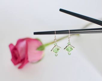 Green Earrings, Silver Dangle Earrings, Swarovski Earrings, Bridesmaid Gift, Geometric Earrings, Gift for Her, Little Earrings