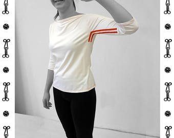 PIONEER T-SHIRT No. 3, 3/4 Sleeves, Boat neck, light gray, jersey, cotton, big neckline, long sleeve, Custom, colour, Shirt, GDR, Pioneer
