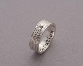 Black Diamond Silver Ring for Men, 8mm Wide Modern Mens Ring, Handmade Wedding Band, Promise Ring for Him, Mens Jewelry, DA48