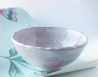 Handmade, wheel thrown ceramic bowl with foot ring