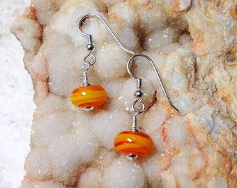 OOAK Artistic Orange and Sterling Silver Earrings