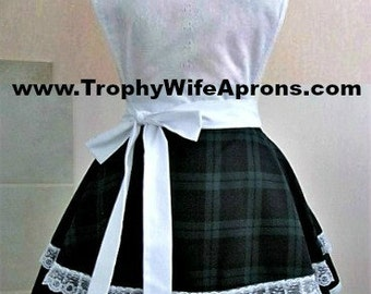 Apron number 4052 - White on green & blue Scottish plaid retro apron