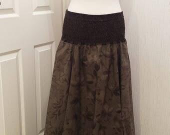 Leaf print, cotton maxi skirt/dress S/M