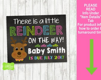 Christmas Pregnancy Announcement Sign - Printable Pregnancy Announcement Sign - Digital Chalkboard Sign - Reindeer Pregnancy Sign