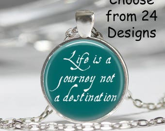 Inspirational Pendant Necklace Art Print Jewelry Charm Jewelry or Keyring, Explore Dream Discover Necklace, Be Renewed Necklace