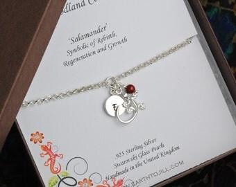 Salamander Bracelet, Personalized Bracelet, Gecko, Sterling Silver Bracelet, Birthstone Bracelet, Initial Bracelet, Nature Jewelry WB109