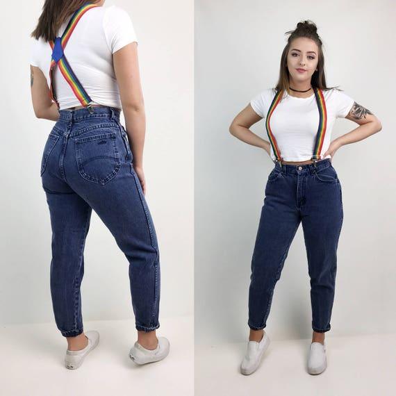 Size 7/8 Vintage High Waisted Mom Jeans Navy Blue - Chic Brand Faded Stonewash Dark Navy VTG 1990's Highwaisted Basic MOM Jeans 28 Waist