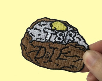 T8R DIE Embroidered Patch Baked Potato