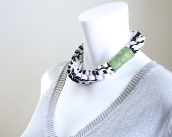 Braided Jersey Choker Necklace - Stretch Chunky Choker in Black and White - Short T-shirt Fabric Necklace Woven into a Spiral Design