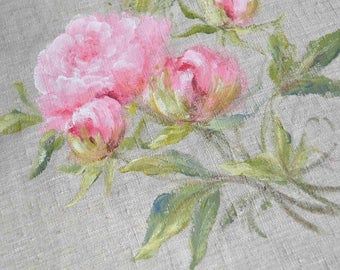 Floral painting peonies painting on natural linen