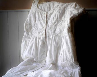 French vintage white broderie anglaise summer dress, romantic dress, victorian style dress