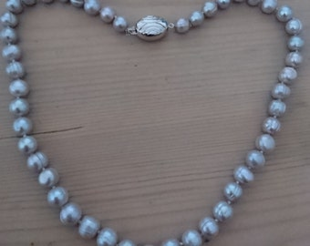 Beautiful large grey real Pearl necklace